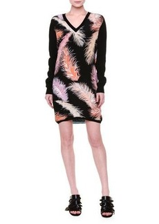 Emilio Pucci Long-Sleeve Feather-Print Sheath Dress