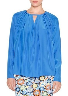 Emilio Pucci Long-Sleeve Pleated Top