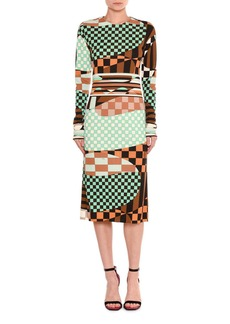 Emilio Pucci Marillyn Retro Geometric Optical-Print Midi Dress