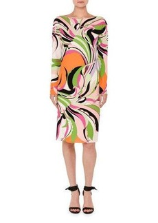 Emilio Pucci Marilyn Printed Long-Sleeve Boat-Neck Dress