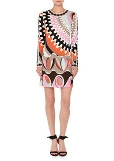 Emilio Pucci Marilyn Printed Long-Sleeve Round-Neck Dress