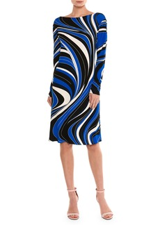 Emilio Pucci Marylin Wave-Print Long-Sleeve Dress