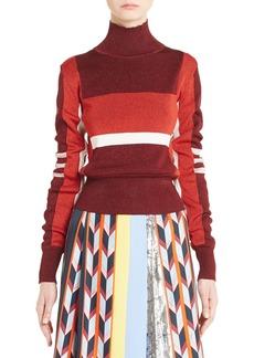 Emilio Pucci Metallic Knit Colorblock Turtleneck Sweater