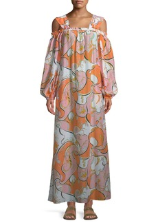 Emilio Pucci Natsri-Baby Printed Off-the-Shoulder Cotton-Silk Maxi Dress