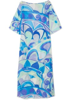 Nigeria printed cotton and silk-blend voile maxi dress