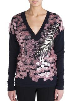 Emilio Pucci Pailette Embroidered Knit Sweater