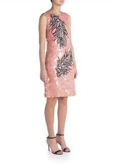 Emilio Pucci Pailette Lace Feather Embroidered Dress