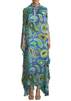 Emilio Pucci Paisley-Print Beaded-Collar Long Caftan