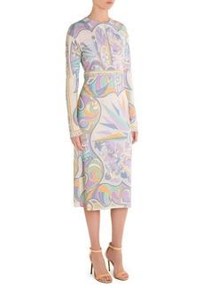 Palm Tree-Print Midi Dress