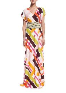 Emilio Pucci Parioli-Print Coverup Maxi Dress w/Tie