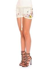 Emilio Pucci Poppy Rocks Embroidered Crochet Shorts