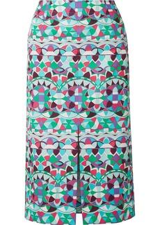 Emilio Pucci Printed Cotton-poplin Midi Skirt