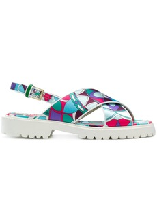 Emilio Pucci printed cross-over sandals - Multicolour