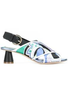 Emilio Pucci printed crossover strap sandals - Multicolour