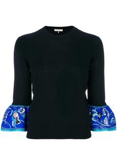Emilio Pucci printed cuff jumper - Black