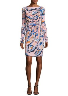 Emilio Pucci Printed Long-Sleeve Boat-Neck Dress