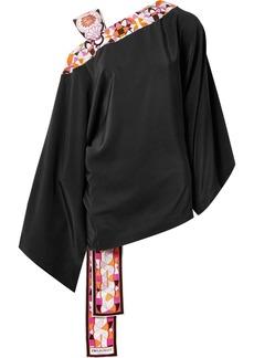 Emilio Pucci Printed satin twill-trimmed silk crepe de chine blouse