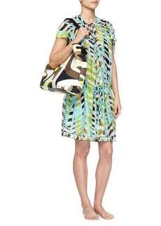 Emilio Pucci Printed Silk Drawstring Coverup Dress