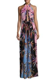 Emilio Pucci Printed Silk Keyhole Halter Gown