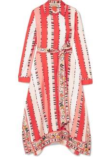 Printed silk-twill midi dress