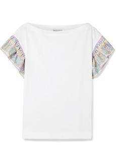 Printed silk twill-trimmed cotton-jersey T-shirt
