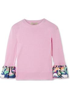 Emilio Pucci Printed silk twill-trimmed wool sweater