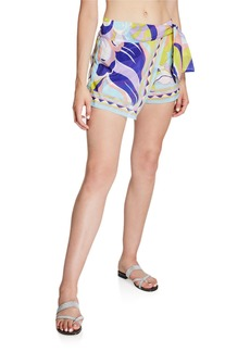 Emilio Pucci Printed Tie-Front Coverup Shorts