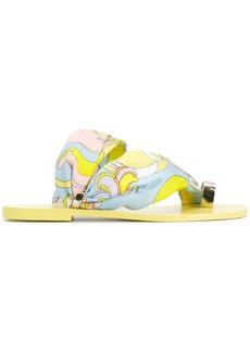 Emilio Pucci printed toe ring slides - Yellow & Orange