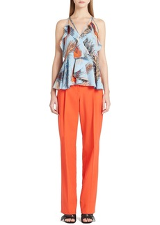 Emilio Pucci Ruffle Trim Feather Print Crêpe de Chine Top