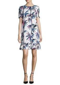 Emilio Pucci Short-Sleeve Printed Ruffle-Hem Dress