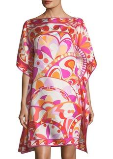 Emilio Pucci Short-Sleeve Printed Silk Coverup Dress