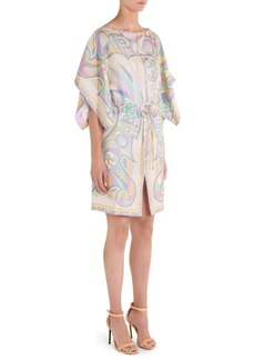 Silk Kimono Drawstring Dress