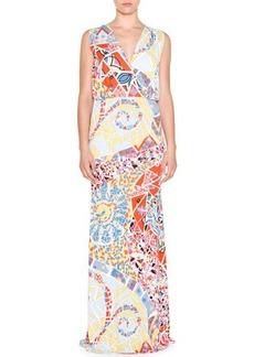 Emilio Pucci Sleeveless Mosaic-Print Maxi Dress