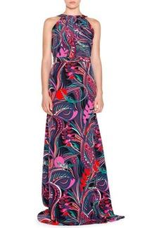 Emilio Pucci Sleeveless Multi-Print Maxi Dress