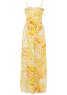 Emilio Pucci Smocked printed cotton and silk-blend voile maxi dress