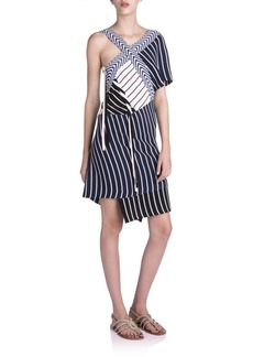 Emilio Pucci Striped Asymmetrical Knit Dress