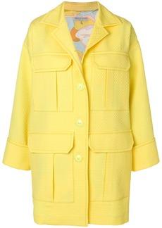 Emilio Pucci textured patch pocket coat - Yellow & Orange