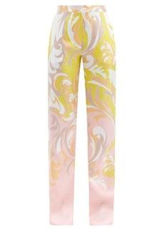 Emilio Pucci Tropicana-print silk-satin wide-leg trousers