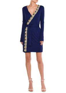 Emilio Pucci Wave-Stripe Long-Sleeve Wrap Dress