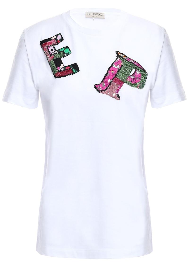 Emilio Pucci Woman Appliquéd Cotton-jersey T-shirt White