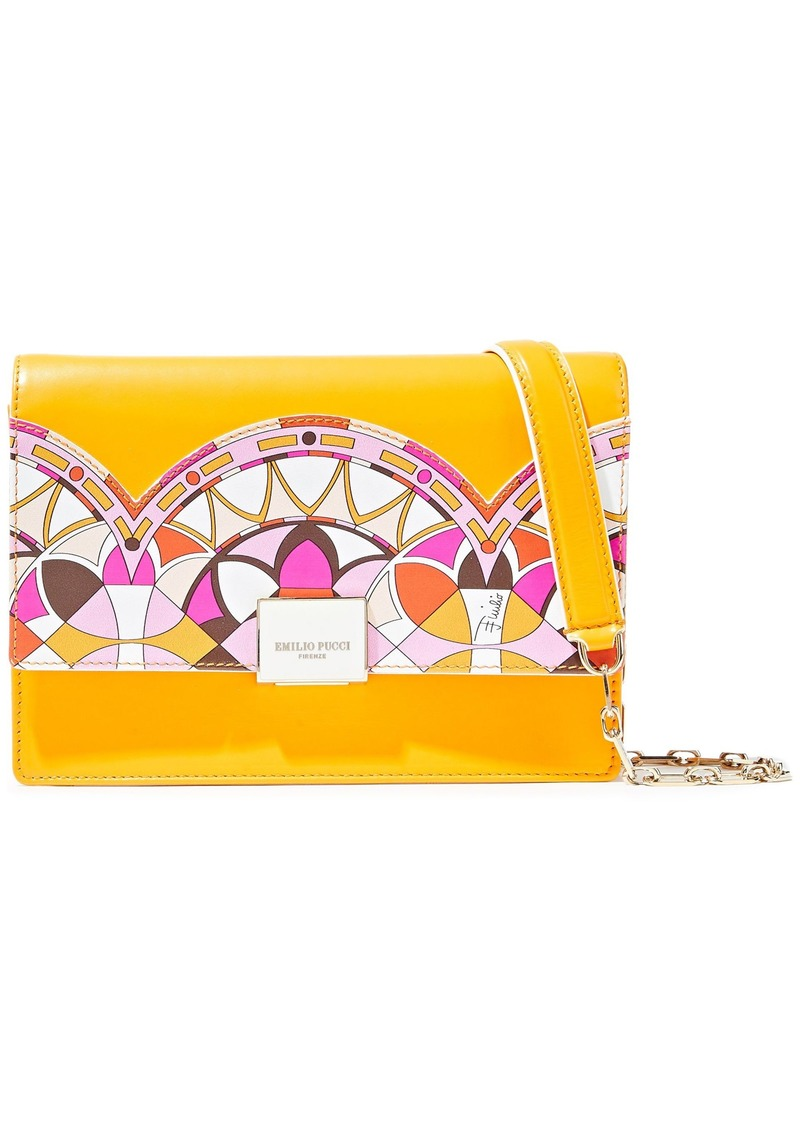 Emilio Pucci Woman Appliquéd Leather Shoulder Bag Saffron