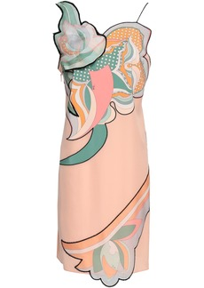 Emilio Pucci Woman Appliquéd Printed Silk Crepe De Chine Slip Dress Peach