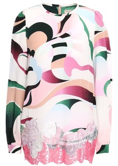 Emilio Pucci Woman Appliquéd Sequin-embellished Printed Silk Crepe De Chine Blouse Baby Pink