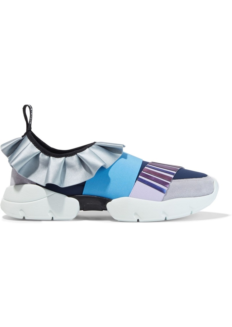 Emilio Pucci Woman Appliquéd Suede Satin And Neoprene Sneakers Blue
