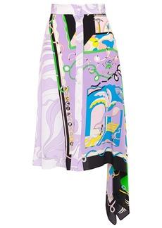 Emilio Pucci Woman Asymmetric Draped Printed Silk Crepe De Chine Skirt Lavender