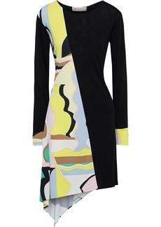 Emilio Pucci Woman Asymmetric Paneled Printed Jersey Dress Black