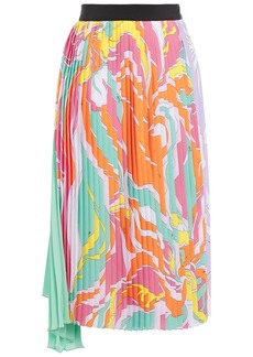 Emilio Pucci Woman Asymmetric Pleated Printed Silk-blend Crepe De Chine Skirt Multicolor