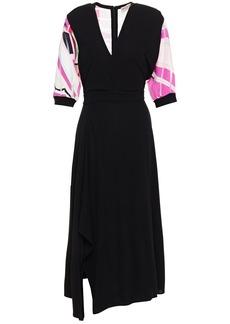 Emilio Pucci Woman Asymmetric Printed Burnout Twill-paneled Jersey Midi Dress Black