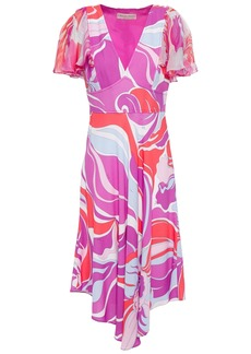 Emilio Pucci Woman Asymmetric Printed Chiffon And Crepe Dress Violet