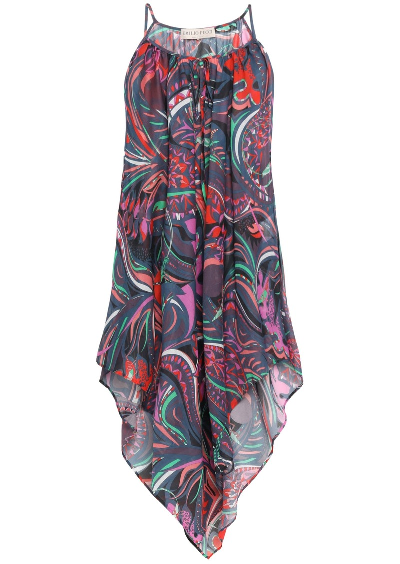 Emilio Pucci Woman Asymmetric Printed Cotton-mousseline Dress Storm Blue